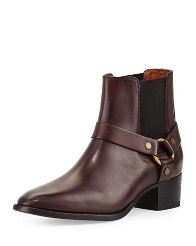 Dara Harness Chelsea Boot, Dark Brown