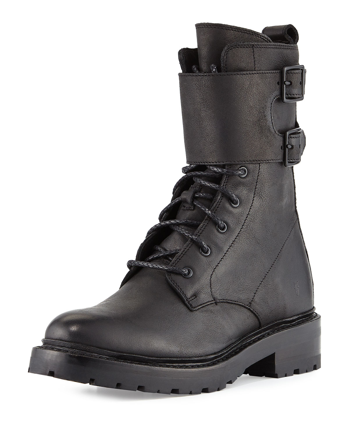 Julie Shield Leather Combat Boot, Black