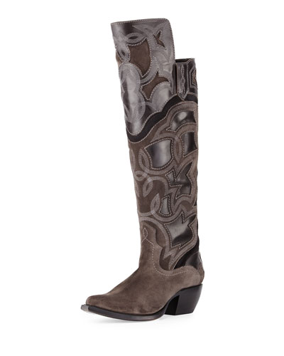 Shane Embroidered Western Over-the-Knee Boot, Charcoal