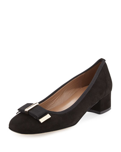 Haben Suede Bow Low-Heel Pump, Black