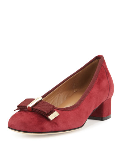 Haben Suede Bow Low-Heel Pump, Bordo