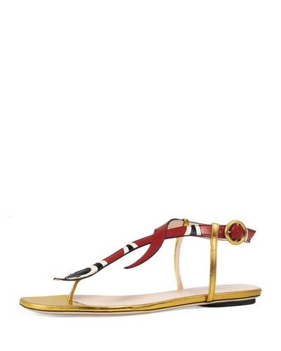 Yoko Snake-Print T-Strap Sandal, Red/Gold