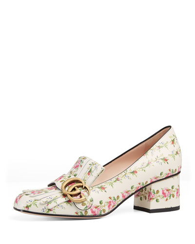 Marmont Fringe Rose 55mm Loafer, Floral/White