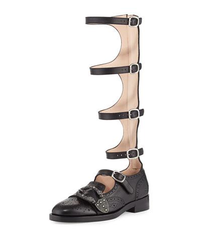 Leather Brogue Gladiator Boot, Black