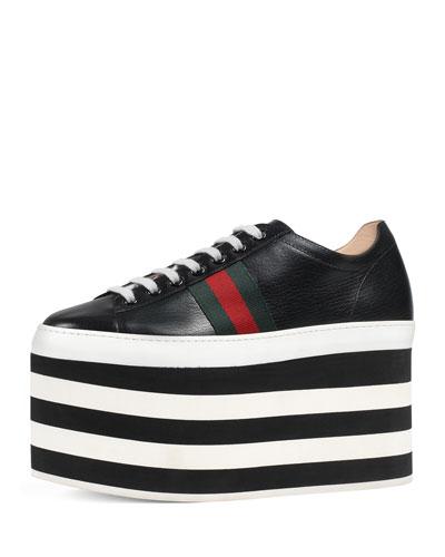 Peggy Leather Platform Sneaker, Black/White