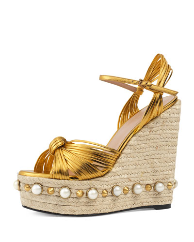Barbette Knotted Espadrille Wedge Sandal, Gold