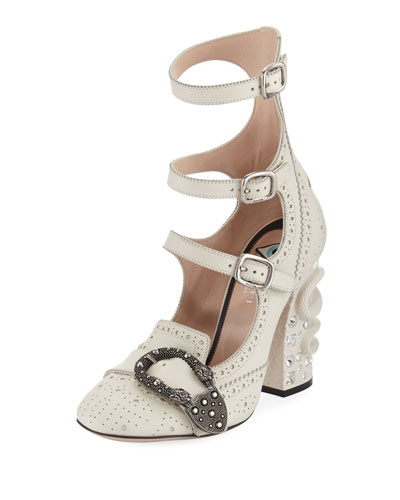 Triple-Strap Snake-Heel Pump, Light Blue
