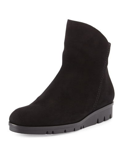 Jade Suede Comfort Ankle Boot, Black