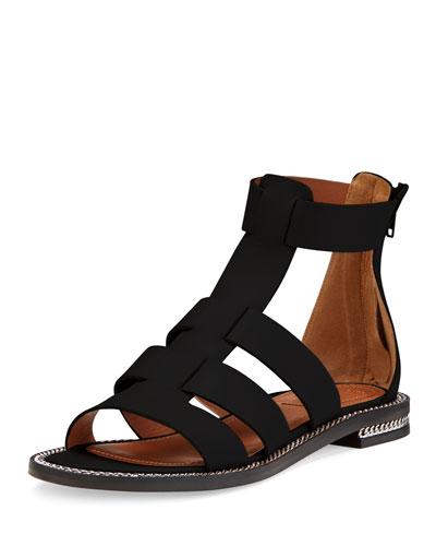 Chain-Trim Leather Gladiator Sandal, Black