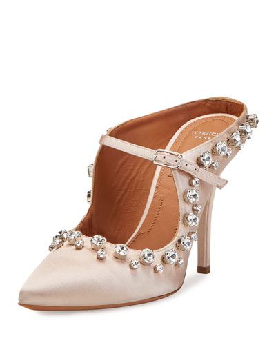 Crystal-Trim Mary Jane 110mm Mule, Nude Pink
