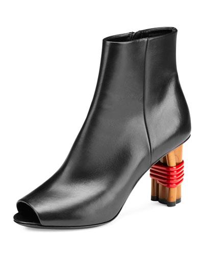Wooden-Heel Open-Toe Bootie, Noir