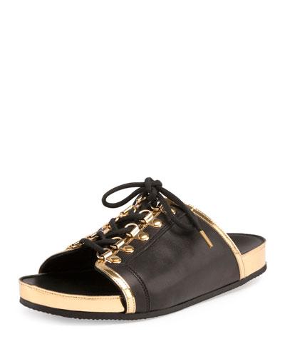 Tao Lace-Up Slide Sandal, Noir/Or