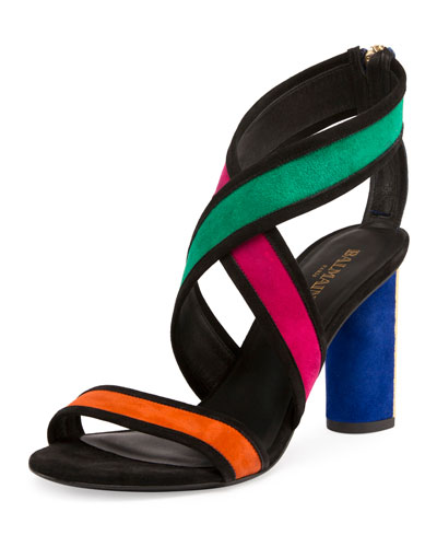 Aska Colorblock Crisscross Sandal, Multicolor