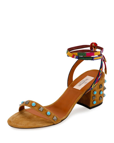 Rockstud Rolling Embroidered 60mm City Sandal