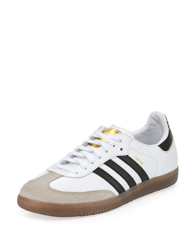 Samba Classic Leather Sneaker, White/Black/Gum