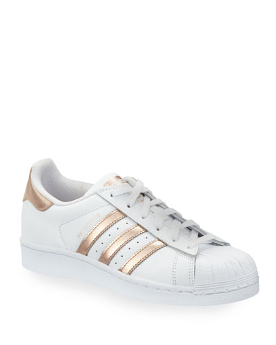 Superstar Original Fashion Sneaker, White/Rose Gold