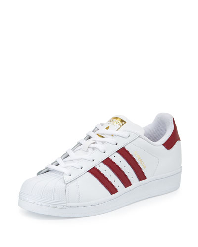 Superstar Original Fashion Sneaker, White/Burgundy