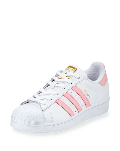 Superstar Original Fashion Sneaker, White/Pink