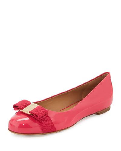 Varina Bow Patent Ballerina Flat, Framboise