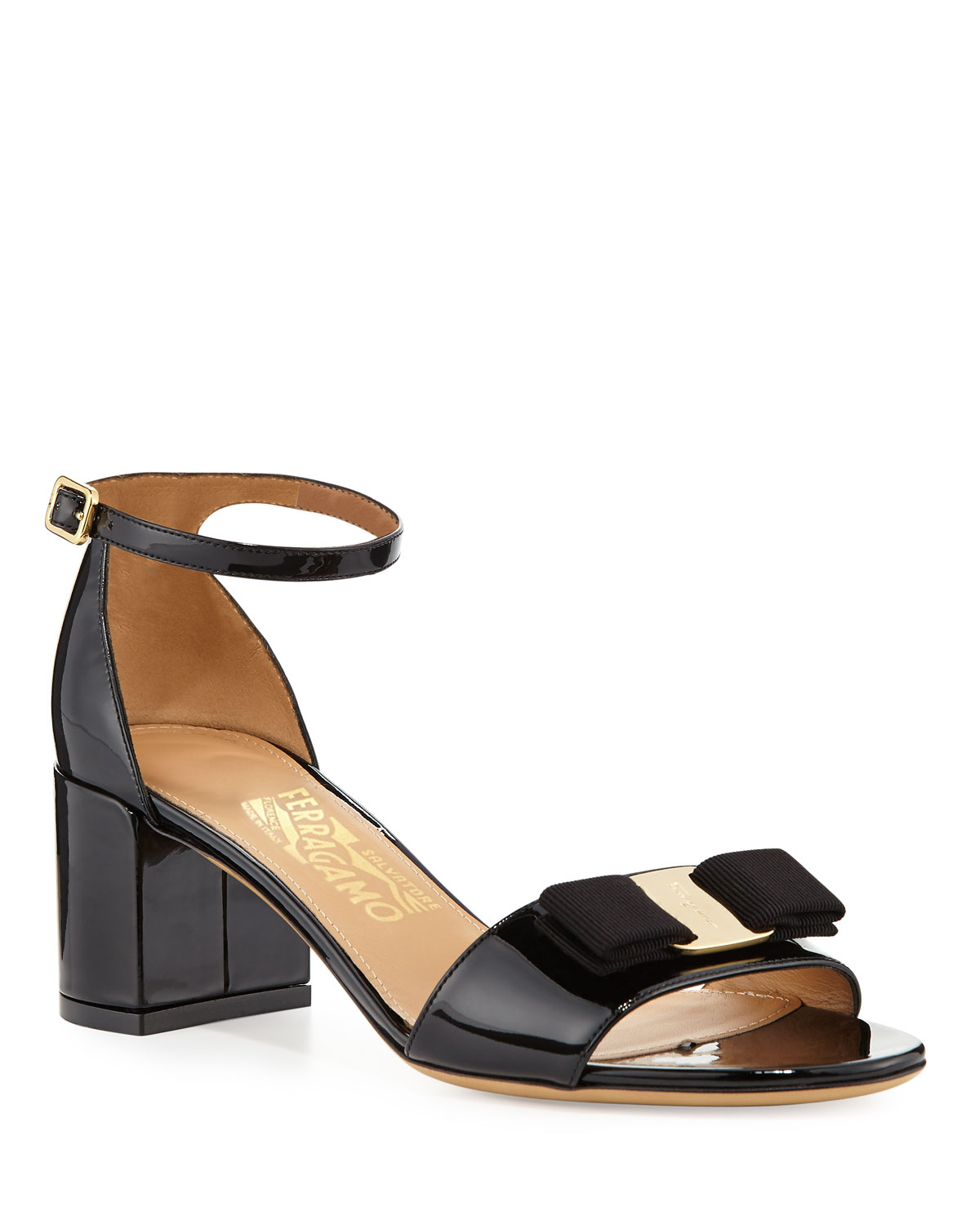Gavina Bow Patent City Sandals, Nero