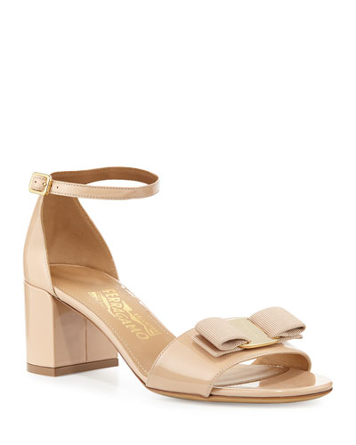 Gavina Bow Patent City Sandals, Bisque