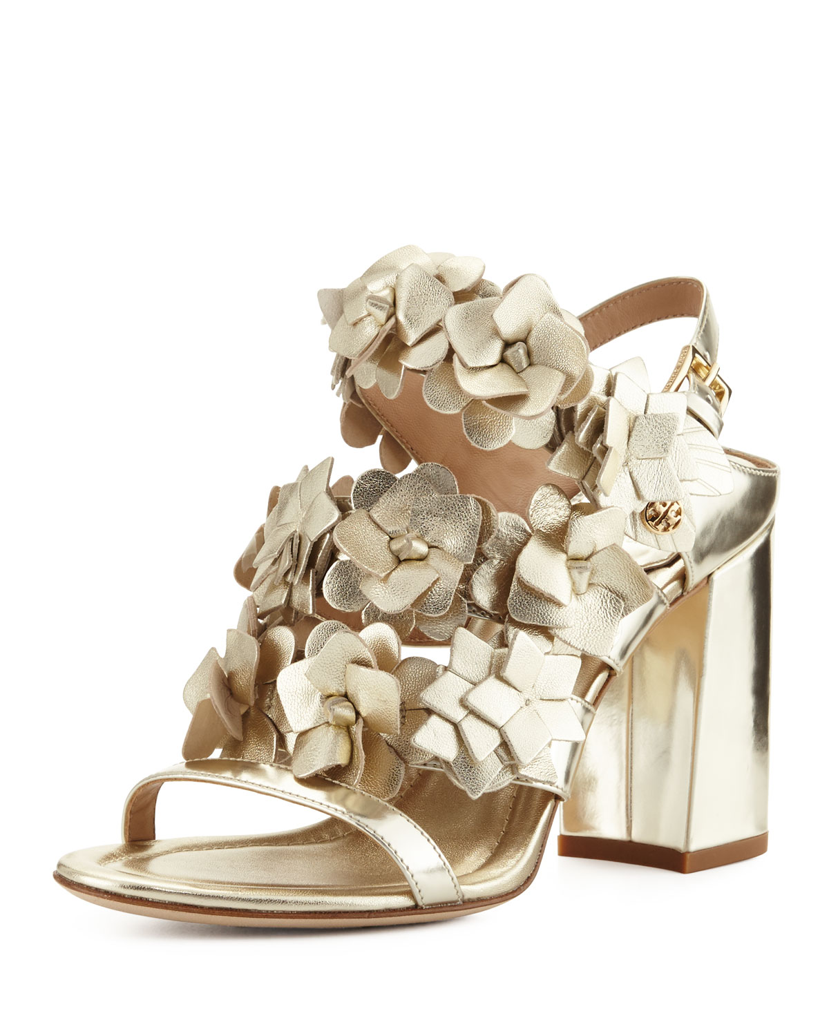 Blossom Leather 65mm Sandal, Spark Gold