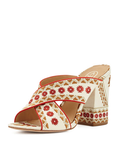 Adel Embroidered Crisscross Mule Sandal, Off White/Coral