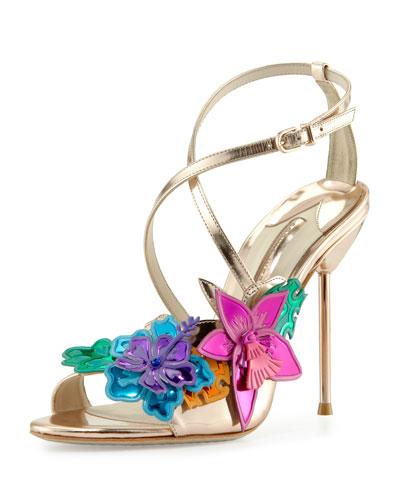 Hula 3D Floral 105mm Sandal, Rose Gold