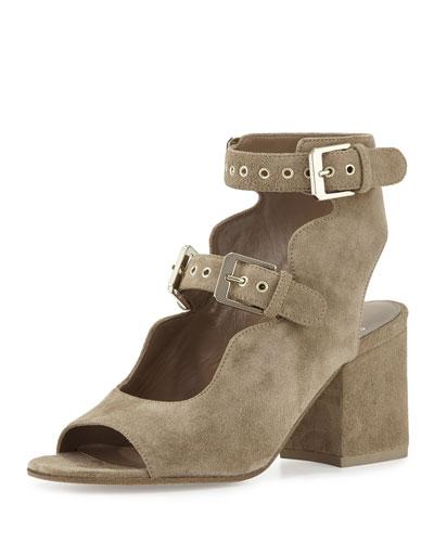 Noe Suede Double-Buckle Sandals, Beige