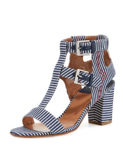 Helie Striped Canvas Sandal, Navy