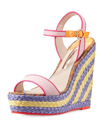 Lucita Canvas Espadrille Wedge Sandal, Pastel Pink