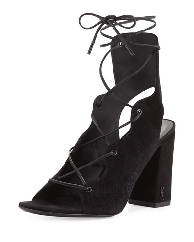 Babies Suede Lace-Up 90mm Sandal, Nero