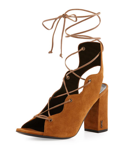 Babies Suede Lace-Up 90mm Sandal, Tan