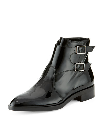 Patent Side-Buckle Bootie, Black