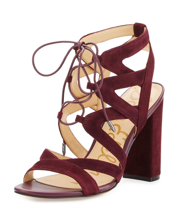 Yardley Suede Lace-Up Sandal, Port Wine