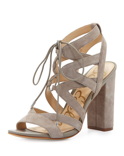 Yardley Suede Lace-Up Sandal, Putty