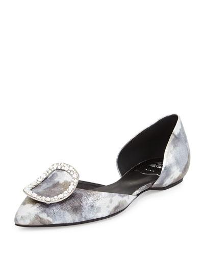 Sexy Choc Strass Ballerina Flat, Silver/Multi