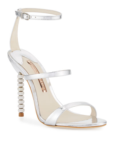 Rosalind Crystal-Heel Leather Sandals, Silver