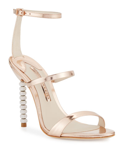 Rosalind Crystal-Heel Leather Sandal