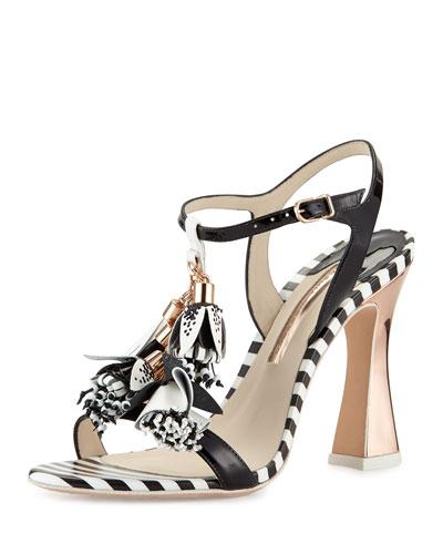Layla Striped Tassel Sandal, Black/White