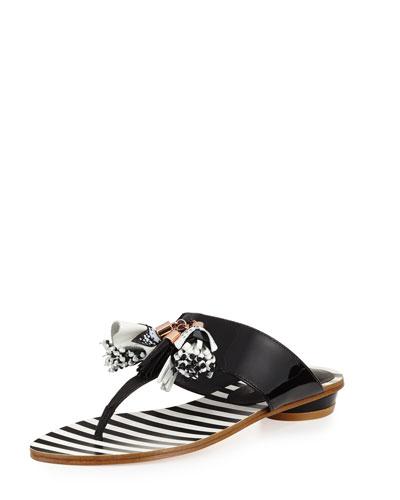 Saffi Tassel Flat Thong Slide Sandal, Black/White
