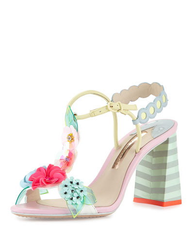 Lilico Floral Mid-Heel Sandal, Pearl Blue