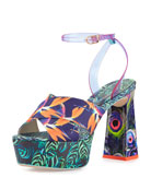 Effie Tropical-Print Platform Sandal, Navy/Green