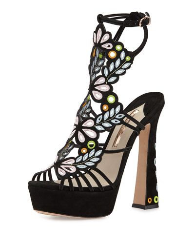 Liliana Embroidered Platform Sandal, Black
