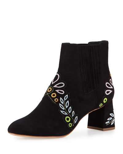 Liliana Embroidered Suede Bootie, Black