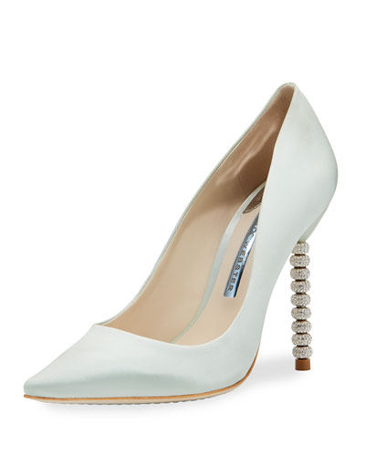 Coco Satin Crystal-Heel Bridal Pump, Ice Blue