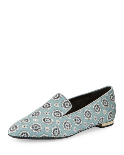 Mormont Pyjama-Print Fabric Loafer, Pale Stone Blue