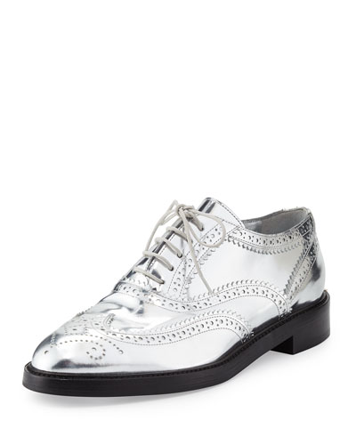 Gennie Zig Metallic Wing-Tip Oxford, Silver