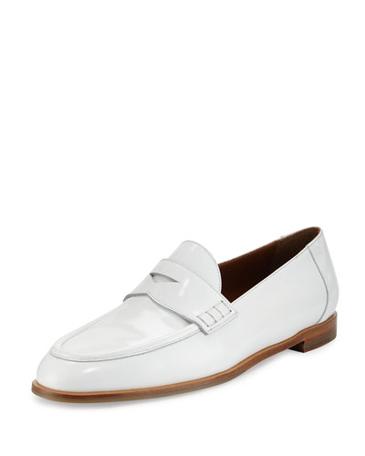 Oban Leather Penny Loafer, Optic White