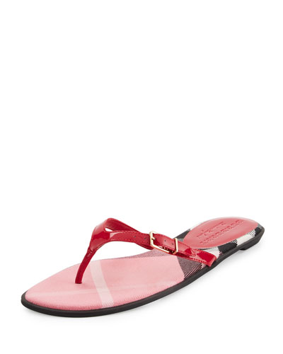 Meadow Patent Thong Sandal, Berry Pink